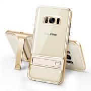 ELEGANCE Υβριδική Θήκη Σιλικόνης TPU (Πλάτη Διάφανη) σε Συνδυαμό με Πλαστικό και με Βάση Στήριξης για Samsung Galaxy S8 G950 - Χρυσαφί