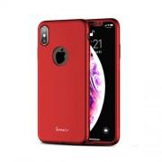 IPAKY 360 μοιρών Σκληρή Θήκη Ματ με Βελούδινη Υφή Πρόσοψης και Πλάτης με Μεμβράνη Προστασίας Οθόνης για iPhone XS / X - Κόκκινο