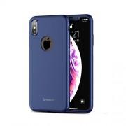 IPAKY 360 μοιρών Σκληρή Θήκη Ματ με Βελούδινη Υφή Πρόσοψης και Πλάτης με Μεμβράνη Προστασίας Οθόνης για iPhone XS / X - Μπλε