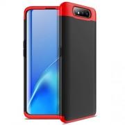 GKK 360 μοιρών Σκληρή Θήκη Ματ με Βελούδινη Υφή Πρόσοψης και Πλάτης για Samsung Galaxy A80 / A90 - Μαύρο / Κόκκινο