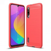 Carbon Fiber Texture Brushed TPU Case Accessory for Xiaomi Mi CC9e / Mi A3 - Red
