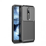 Carbon Fiber Texture TPU Case Anti-drop Phone Shell for Nokia 4.2 - Black