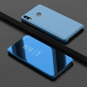 View Window Leather Stand Mobile Cover for Huawei Honor 8X / Honor View 10 Lite [Electroplating Mirror Surface] - Blue