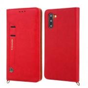 CMAI2 Δερμάτινη Θήκη Πορτοφόλι με Βάση Στήριξης με Θέση Στυλό Αφής για Samsung Galaxy Note 10 - Κόκκινο