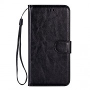 Crazy Horse Leather Wallet Shell with Lanyard Phone Case for Samsung Galaxy Note 10 Plus/Note 10 Plus 5G - Black