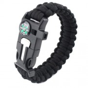 5 in 1 Outdoor Survival Bracelet with Whistle, Flintstone, Compass, Scraper, Reflective Strip Rope - Μαύρο