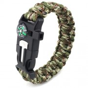 6 in 1 Outdoor Survival Bracelet with Whistle, Flintstone, Compass, Scraper, Reflective Strip Rope - Καμουφλάζ Πράσινο