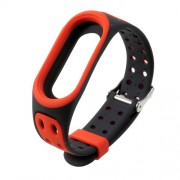Breathable Bi-color Silicone Watch Band for Xiaomi Mi Smart Band 4 / Mi Band 3 - Red / Black
