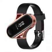 Μπρασελέ Σιλικόνης με Μεταλικό Πλαίσιο για Xiaomi Mi Band 4 / 3 - Μαύρο / Ροζέ Χρυσαφί