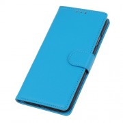 Litchi Skin Wallet Leather Stand Case for OnePlus 7 - Blue