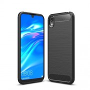 Carbon Fibre Brushed TPU Back Case for Huawei Y5 (2019) / Honor 8S - Black