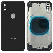 Battery Cover with Metal Frame and Keys for iPhone X - Black
