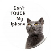 Expanding Finger Grip Desktop Stand for Smartphone Tablet - Do Not Touch My iPhone and Unhappy Cat
