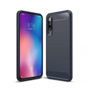 Carbon Fiber Texture Brushed TPU Phone Case Cover for Xiaomi Mi 9 SE - Dark Blue