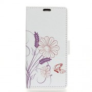 Pattern Printing Stand Leather Phone Shell for Xiaomi Mi Play - Butterfly and Flower