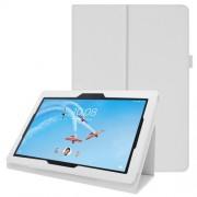 Litchi Skin Leather Stand Case for Lenovo Tab E10 - White