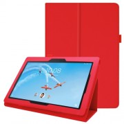 Litchi Skin Leather Stand Case for Lenovo Tab E10 - Red