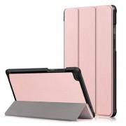 Δερμάτινη Θήκη Βιβλίο Tri-Fold με Βάση Στήριξης για Lenovo Tab E8 TB-8304F - Ροζέ Χρυσαφί