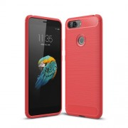 Carbon Fiber Texture Brushed TPU Phone Back Case for Lenovo S5 - Red