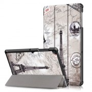 Pattern Printing Tri-fold Stand PU Leather Smart Case for Samsung Galaxy Tab S5e SM-T720/SM-T725 - Eiffel Tower and Map