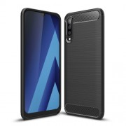 Carbon Fibre Brushed TPU Shell Case for Samsung Galaxy A70 - Black