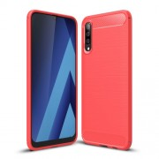 Carbon Fibre Brushed TPU Shell Case for Samsung Galaxy A70 - Red