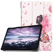 Pattern Printing Tri-fold Stand Leather Smart Case Cover for Samsung Galaxy Tab A 10.5 (2018) T590 T595 - Beauty and Butterfly