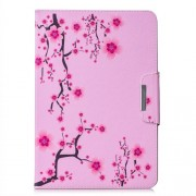 Pattern Printing Universal Wallet Leather Stand Case for 10-inch Tablet PC - Plum Blossom
