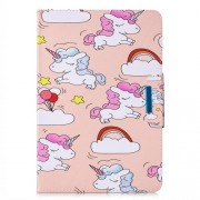 Pattern Printing Universal Leather Wallet Cover for 10-inch Tablet PC - Unicorns and Cloud