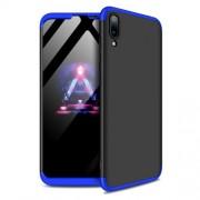 GKK 360 μοιρών Σκληρή Θήκη Ματ με Βελούδινη Υφή Πρόσοψης και Πλάτης για Huawei Y7 Pro (2019) / Enjoy 9 - Μαύρο / Μπλε