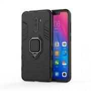 Υβριδική Θήκη Σιλικόνης TPU και Πλαστικού με Μεταλλικό Δαχτυλίδι που κάνει Βάση Στήριξης για Xiaomi Pocophone F1 - Μαύρο