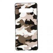 Camouflage Pattern TPU Mobile Phone Case Accessory for Samsung Galaxy S10 Plus - White