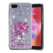 Dynamic Glitter Powder Sequins Patterned TPU Cover for Xiaomi Redmi 6 (Dual Camera: 12MP+5MP) - Pink Flower
