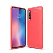 Carbon Fibre Brushed TPU Shell Case for Xiaomi Mi 9 - Red