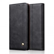 Auto-absorbed Crazy Horse Vintage Leather Stand Case for Xiaomi Mi 9 - Black
