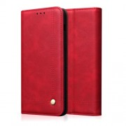 Auto-absorbed Crazy Horse Vintage Leather Stand Case for Xiaomi Mi 9 - Red