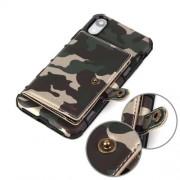 SHOUHUSHEN Υβριδική Θήκη Πλάτης με Αποθηκευτικό Χώρο για Κάρτες και Χαρτονομίσματα για iPhone XR - Πράσινο Καμουφλάζ
