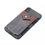 SHOUHUSHEN Υβριδική Θήκη Πλάτης με Αποθηκευτικό Χώρο για Κάρτες και Χαρτονομίσματα για iPhone XS Max - Σκούρο Γκρι