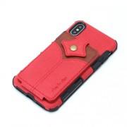 SHOUHUSHEN Υβριδική Θήκη Πλάτης με Αποθηκευτικό Χώρο για Κάρτες και Χαρτονομίσματα για iPhone XS Max - Κόκκινο