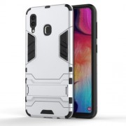 Cool Guard PC TPU Hybrid Back Casing with Kickstand for Samsung Galaxy A30/A20 - Silver