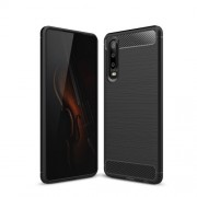 Carbon Fiber Texture Brushed TPU Cell Phone Case for Huawei P30 - Black
