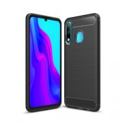 Carbon Fiber Texture Brushed TPU Protective Case for Huawei P30 Lite - Black