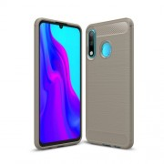 Carbon Fiber Texture Brushed TPU Protector Cover for Huawei P30 Lite - Grey