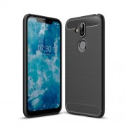 Carbon Fiber Texture Brushed TPU Back Case for Nokia 8.1 / X7 - Black