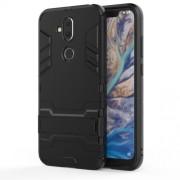 Υβριδική Θήκη Συνδυασμού Σιλικόνης TPU και Πλαστικού με Βάση Στήριξης για Nokia 8.1 / X7 - Μαύρο