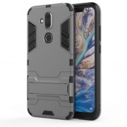 Υβριδική Θήκη Συνδυασμού Σιλικόνης TPU και Πλαστικού με Βάση Στήριξης για Nokia 8.1 / X7 - Γκρι