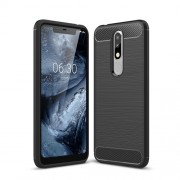 Carbon Fiber Texture Brushed TPU Mobile Phone Casing for Nokia 5.1 Plus /  X5 (China) - Black
