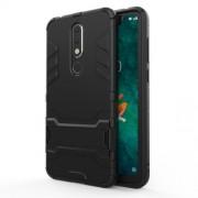 Υβριδική Θήκη Συνδυασμού Σιλικόνης TPU και Πλαστικού με Βάση Στήριξης για Nokia 5.1 Plus / X5 - Μαύρο
