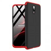 GKK 360 μοιρών Σκληρή Θήκη Ματ με Βελούδινη Υφή Πρόσοψης και Πλάτης για OnePlus 6T - Μαύρο/Κόκκινο