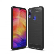 Carbon Fiber Texture Brushed TPU Case for Xiaomi Redmi Note 7 / Note 7 Pro (India) - Black